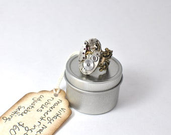 80 Year Old Steampunk Inspired Vintage Watch Movement Filigree Ring, Silver and Brass Tone Adjustable  00117