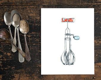 watercolor giclee print - 8x10 // egg beater mixer kitchen art // wall decor