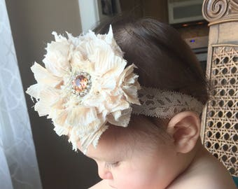 Shabby chic ivory and coral flower headband