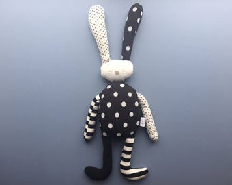 Personalised flopsy bunny rabbit soft toy plushie handmade baby boy newborn child gift birthday black & white monochrome easter gift