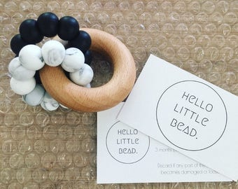 DUO Teether - Marble and Black Teether - Silicone and Beech Teething Ring - Baby Teether - Silicone Teether - Wooden Teether