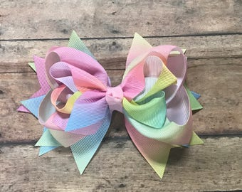 Spring Bow - Pastel Bow - Easter Bow - Pastel Hair Bow - Spring Hair Bow - Easter Hairbow - Pastel Tie Dye - Hair Clip - Big Spring Bow