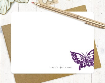 personalized stationery set flat note cards - BUTTERFLY - set of 12 - stationary - nature lover gift - custom cards - cute cards
