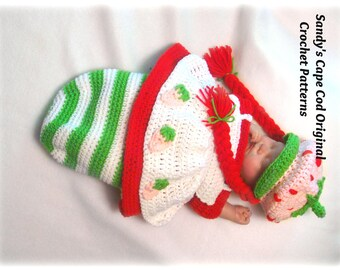 Strawberry Babycake Crochet Pattern Cocoon and Hat Set PDF 700