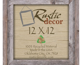 "12x12 -2"" wide Rustic Barn Wood Signature WallFrame"