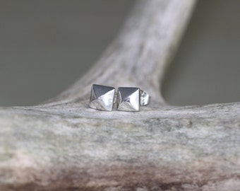 Silver Pyramid Studs - Sterling Silver Stud Earrings - Tiny Geometric Studs  - Faceted Studs - Everyday Tiny Studs - Minimal Modern Studs