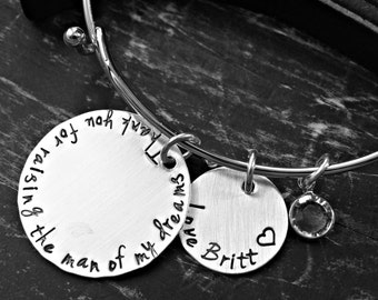 Mother Of The Groom Bracelet - Thank you For Raising The Man Of My Dreams - Hand Stamped Sterling Silver Charm Bracelet