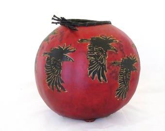 Raven Reveille Gourd Bowl (1622)  bird crow