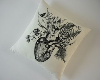 Growing Human Heat silk screened cotton canvas throw pillow 18 inch black unbleached