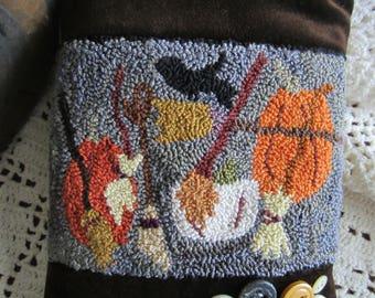 Punch Needle Pattern - Brooms and Pumpkins - Halloween  - FAAP - Pillow  - Pinkeep - Pincushion - Autumn - Fall