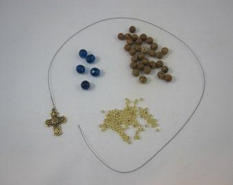 DIY Prayer Bead Kit - Tigerskin Jasper and Dark Aqua Fire-Polished Glass