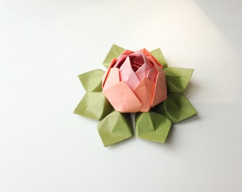 Bright Dawn Lotus Flower -  Origami Lotus Flower - Pink, Coral and Moss Green - Handmade Paper Flower - birthday, get well, friendship