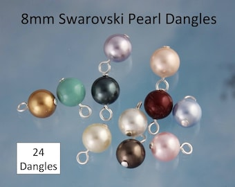24 (Twenty four) 8mm Swarovski Pearl Dangles- silver, gold, gunmetal, antique brass or copper plated loops- simple loop wire wrapped drops