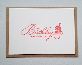 Birthday Card, Letterpress hand printed card