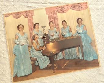 Southern Belles Photo Hand colored 1940s Sweet Adelines Female Singers Photograph Fan Dancers 14 inch Movie Prop Jackpot Jen Vintage