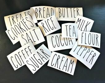 Rae Dunn inspired Farmhouse vinyl decals FREE SHIPPING coffee, sugar, cream, salt, pepper,tea, cocoa, milk, flour, rice, cookies, treats