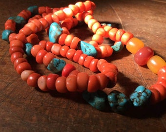 coral &turquoise necklace