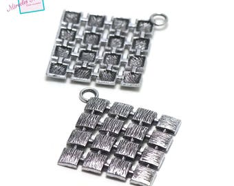 "2 charms pendant ""Checkerboard Square"", 50 x 56 mm, silver, 082"