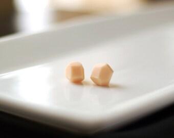 Peach Geometric Stud Earrings - Geo Earrings - Simple - Minimalist - Modern - Lightweight