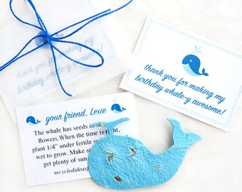12 Flower Seed Paper Whales Plantable Birthday Party Favors - Whale Thank You Cards - Kids Birthday Party Favors - Blue Whales