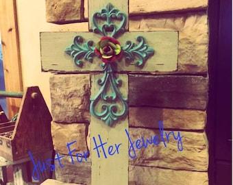Rustic Stand Crosses,Rustic Cross,Shabby Chic Cross