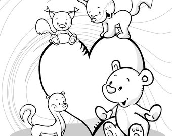 Cute Heart with Animals by HVS - 1 Coloring Page in PDF file
