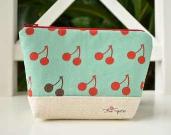 Zipped Pouch - Blue, Cherries - makeup bag, cosmetic bag, toiletry bag, accessories bag, small storage bag, small zipper pouch