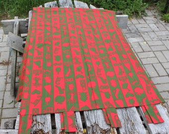 Red Panel curtain Swedish Curtains  IKEA Red Green Retro fabric Vintage  Cotton curtains   / Side Christmas Curtains