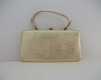 Gold Metallic Foil 60s Handbag