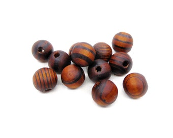 Brown Round Wooden Beads, Brown Wooden Beads with Stripes, Brown Wood Beads, 16x14mm/ Ø 4mm - 10 pcs