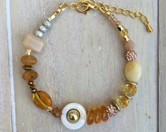 Mixed media beaded bracelet gold, amber, yellow,  colored,  glass beads.