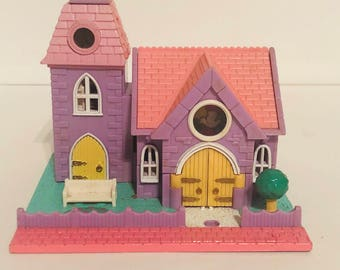 1993 Bluebird Polly Pocket, wedding chapel with stain glass windows, no dolls included
