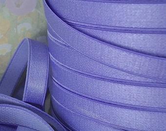 3yds Elastic Satin Purple Shiny Stretch Bands Headbands 1/2 inch lingerie bra elastic Periwinkle Purple bra strap elastic