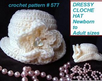 Crochet PATTERN- Dressy Cloche Hat  (baby, Toddler, Child, Kids, Teen, Adult sizes) num. 577