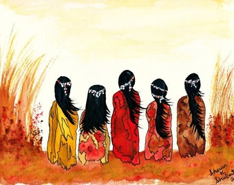 Native American Girls Art, Watercolor Painting, Southwestern Decor, Tribal Autumn Fall, Orange Yellow Home Decor, Wall Hanging, Giclee Print