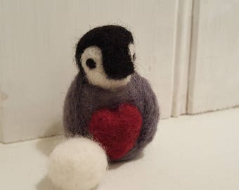 Miniature needle felted penguin  with felted snowball, Cute felted baby penguin, penguin with heart and snowball, OOAK adorable penguin