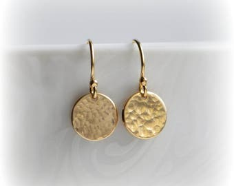 Hammered Gold Earrings, Tiny Gold Disc Earrings, Simple Gold Earrings, Gold Minimalist Earrings, Dangle Earrings, Gift for Her, Blissaria