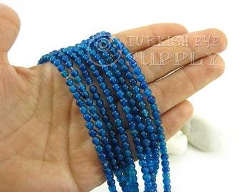 Azure Blue Agate Beads, 4mm Round Agate Bead Strands, One 1 Full Strand Semiprecious Gemstone Beads, Loose Beads
