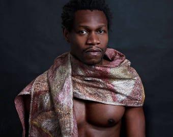 Silk-scarf-element Earth, Nuno-scarf, felt-scarf, silk, wool