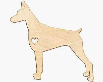 Heart Cut Doberman Wood Sign-Wooden Wall Decor, Gifts For Dog Owner, Wood Doberman, Doberman Lover, Doberman Wall Art, Doberman Pinscher Art
