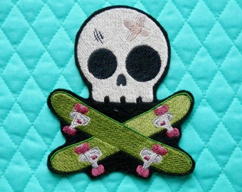 """Embroidered Skull Patch, Skateboarder, Iron on Patch, Large 4.4"""" X 5.1"""", Skull, Embroidered Patch, Skateboard, Extreme Sports, Boarder"""