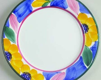 """Per 30 Handpainted Salad Plate 8"""" with Flowers by Pier 1 - Made In Italy"""