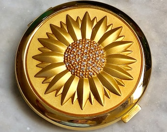 Tournesol or et strass Double miroir Compact