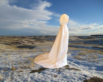 Ivory Cape - Hooded Wedding Cloak-  Cathedral Train - Bridal-Veil- Hooded Cloak- Medieval - Renaissance -Fairy - Silk - Elven- LOTR- Cosplay