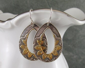 Fine silver hoops with 22k gold accent, handmade eco friendly earrings-OOAK