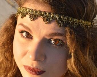 Gold boho headband, boho headpiece, boho headband, gold headband, girls headband, wedding headband, tribal headband, gypsy headband