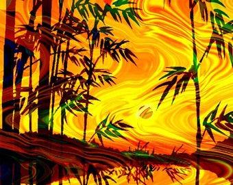 Hand Created 4 Fabric 100% Cotton Sateen Art Prints Landscape Asian Aurora Borealis Sunset Quilting
