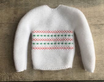 """Elf sweater/holiday elf clothes/12"""" doll sweater/doll clothing/elf sweatshirt/elf clothing/elf costume"""