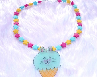 Minty Bunny Icecream cone necklace - Kawaii Shrink plastic pendant on a beaded star necklace