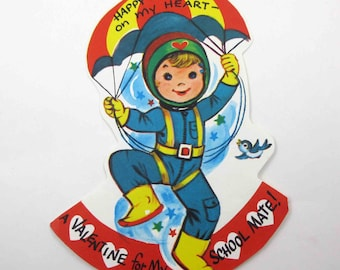 Vintage Unused Children's Novelty Valentine with Cute Boy and Parachute